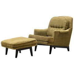 Edward Wormley Lounge Chair with Ottoman in Green Upholstery