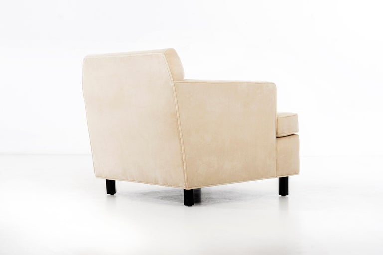 Mohair Edward Wormley Pair of Lounge Chairs For Sale