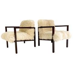 Edward Wormley Model 406 Chairs in California Sheepskin, Pair
