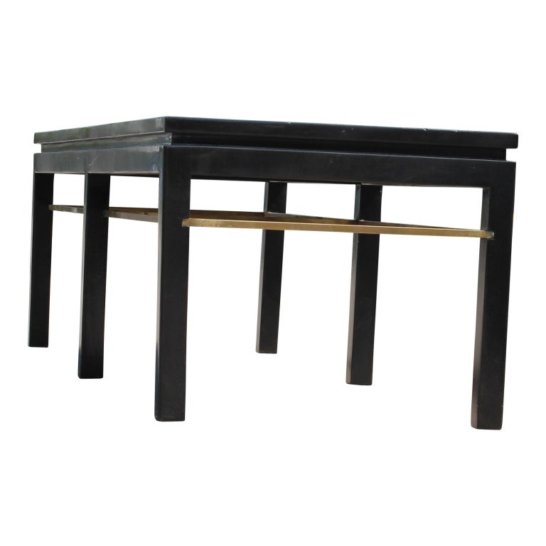 Mid-20th Century Edward Wormley Modern Rectangular Dunbar Coffee Table Brass Accents For Sale
