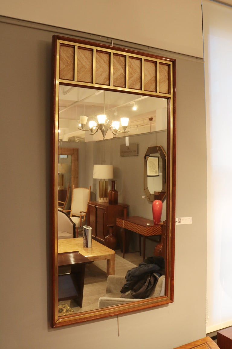 Edward Wormley Modernist Wall Mirror In Good Condition For Sale In New York, NY