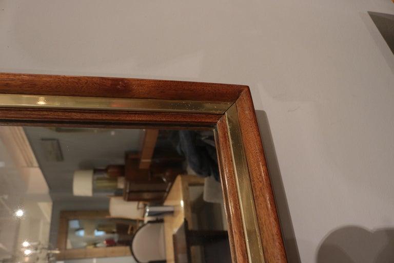 Brass Edward Wormley Modernist Wall Mirror For Sale
