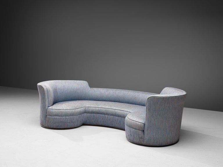 Edward Wormley for Dunbar, 'Oasis' sofa model 5200, fabric and mahogany, United States, 1952.  Stunning curved sofa designed by Edward Wormely in 1952. This theatrical model features beautiful lines, with a high back on both ends and lower in the