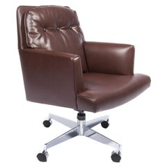 Edward Wormley Office Chair in Leather with Chrome Base, 1960s