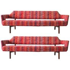 Edward Wormley Open Back Sofas for Dunbar Original Dorothy Liebes Woven Textile