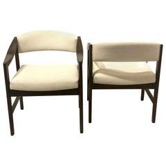 Edward Wormley Open Frame Sculpted Armchairs for Dunbar