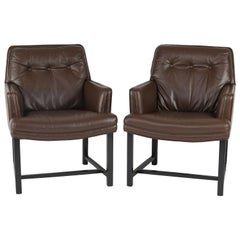 Edward Wormley Pair of Arm Chairs in Leather with Mahogany Bases 1960s 'Signed'