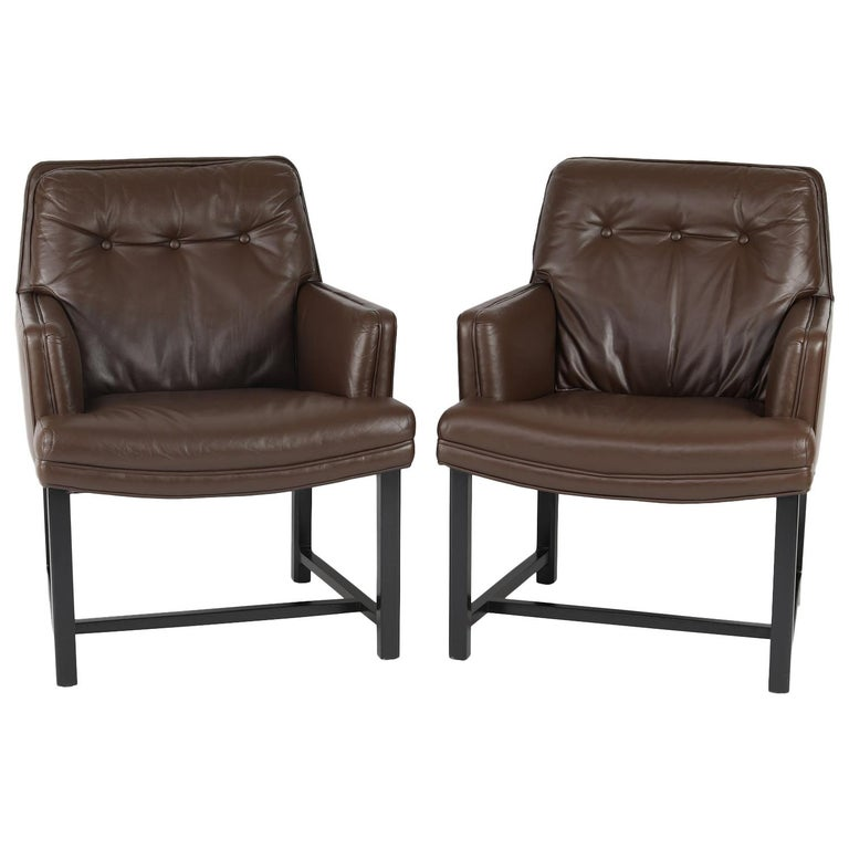 Edward Wormley Pair of Arm Chairs in Leather with Mahogany Bases 1960s 'Signed' For Sale