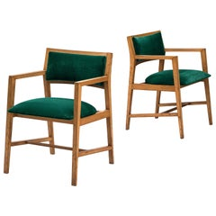 Edward Wormley Pair of Armchairs in Green Fabric
