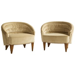 Edward Wormley, Pair of Channel Back Lounge Chairs