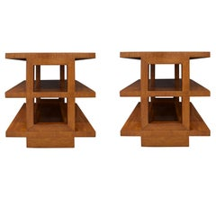Edward Wormley Pair of Rare 3-Tier End Tables 1944 'Signed'