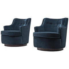 Edward Wormley Pair of Swivel Chairs in Blue Upholstery