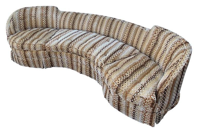 Mid-Century Modern Edward Wormley, Rare Curved Sofa, Original Fabric, Dunbar, America, 1950s For Sale