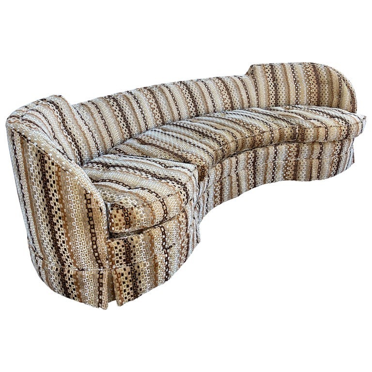 Edward Wormley, Rare Curved Sofa, Original Fabric, Dunbar, America, 1950s For Sale