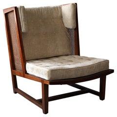 Edward Wormley, Rare Lounge Chair, Wood, Cane, Fabric, Dunbar, America, 1960s