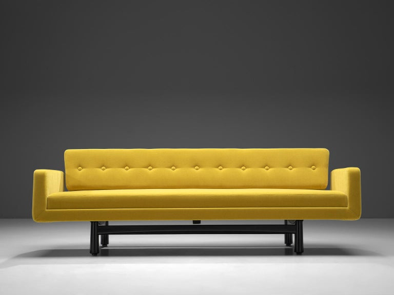 Edward Wormley, sofa Model 5316, yellow fabric, black mahogany frame, United States, circa 1950s.   This three-seat sofa is designed circa 1965. The luxurious, high quality yellow fabric turns this, rather clean and elegant sofa into a real