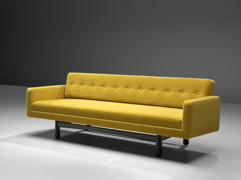Mid-Century Modern Edward Wormley Reupholstered Yellow Sofa Model 5316 For Sale