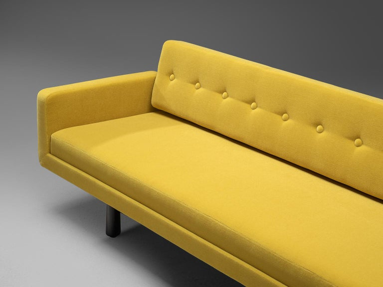 American Edward Wormley Reupholstered Yellow Sofa Model 5316 For Sale