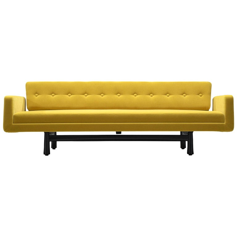 Edward Wormley Reupholstered Yellow Sofa Model 5316 For Sale