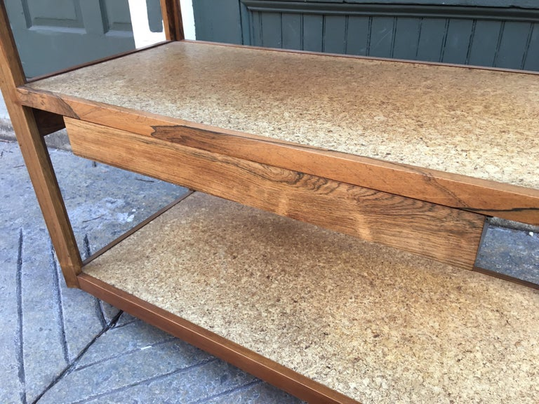 American Edward Wormley Rosewood, Cork and Slate Rolling Cart For Sale