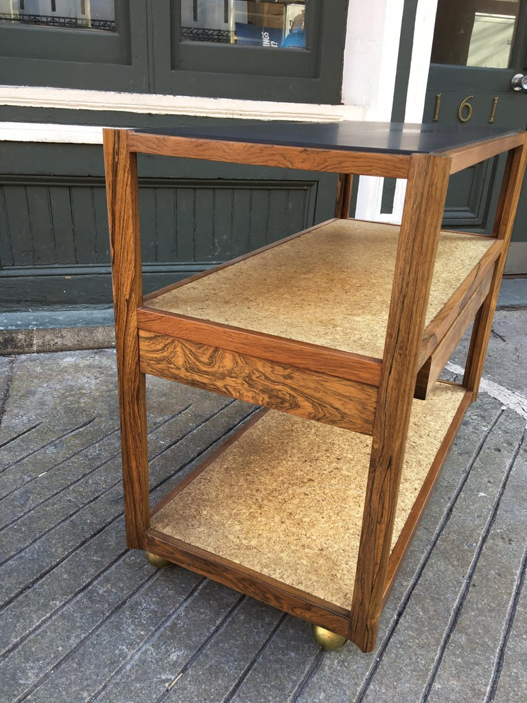 Edward Wormley Rosewood, Cork and Slate Rolling Cart For Sale 2