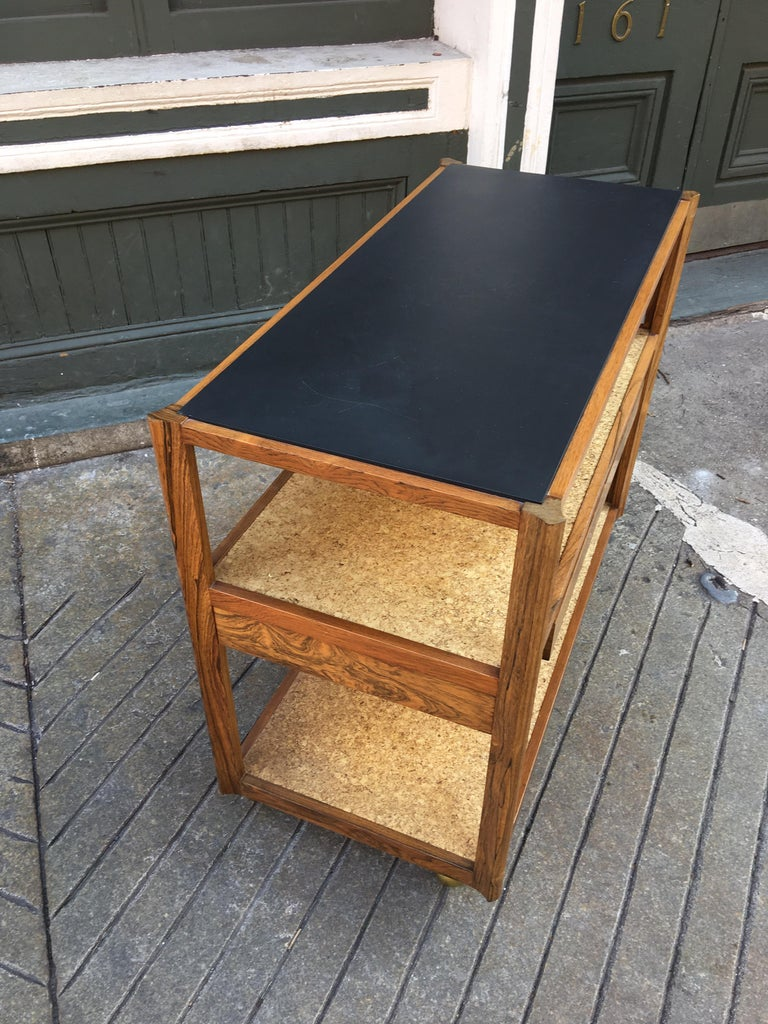 Edward Wormley Rosewood, Cork and Slate Rolling Cart For Sale 3