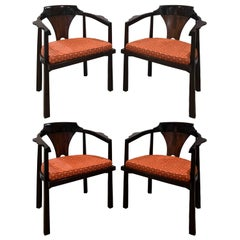 Edward Wormley Set of 4 Dining/Game Chairs in Walnut and Rosewood 1963 'Signed'