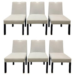 Edward Wormley Set of Six Dining Chairs with Brass Handholds, 1950s