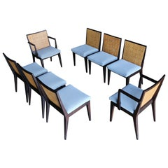 Edward Wormley Set of Eight Caned Dining Chairs for Dunbar, circa 1955