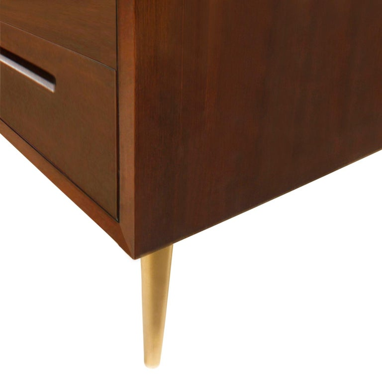 Hand-Crafted Edward Wormley Side Table in Mahogany with Conical Brass Legs 1940s 'Signed' For Sale