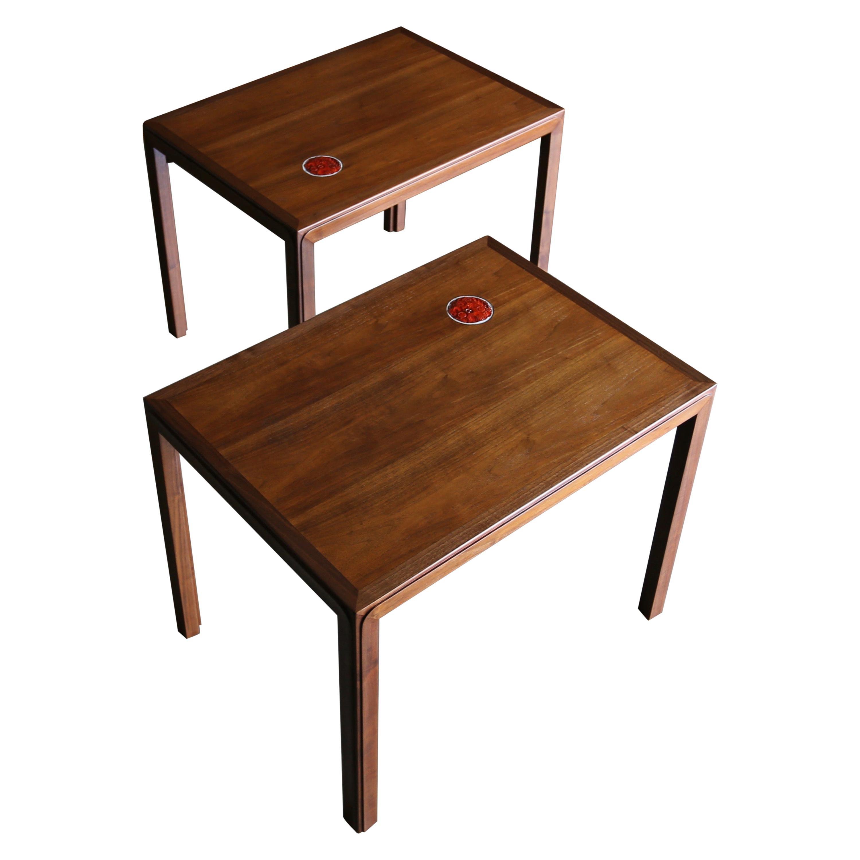 Edward Wormley Side Tables for Dunbar with Natzler Tiles, circa 1955