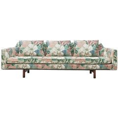 Edward Wormley Sofa Model 495 in Floral Upholstery