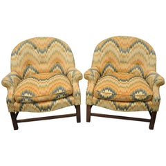Edward Wormley Style Barrel Back Upholstered Club Lounge Chairs