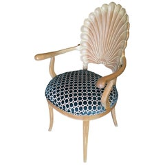 Edward Wormley Style Calm Shell Back Armchair