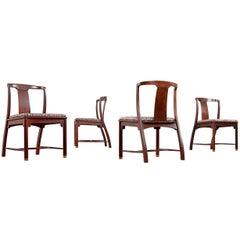 Edward Wormley Style Mahogany Chinoiserie Dining Chairs, circa 1960s