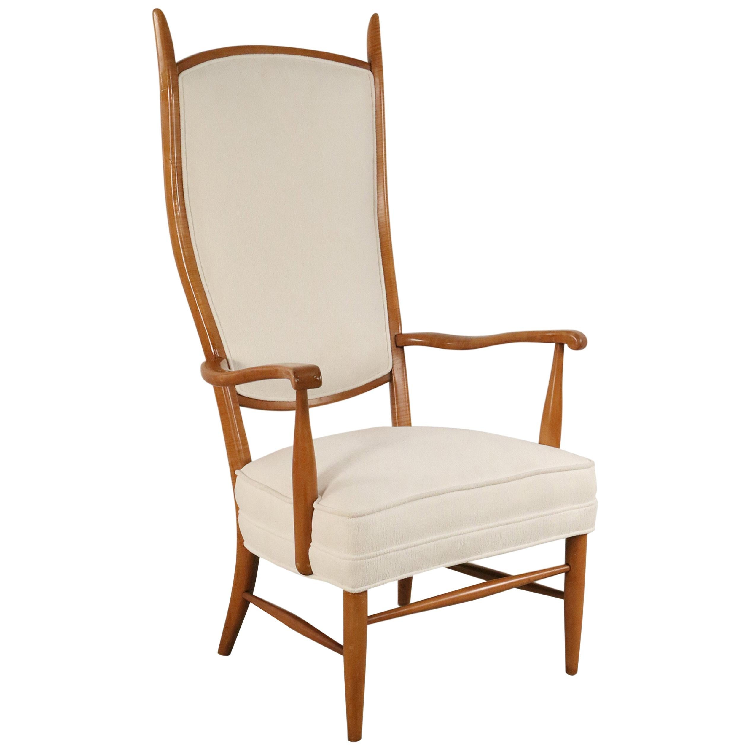 Edward Wormley Style Midcentury High Back Beige Upholstered Maple Armchair