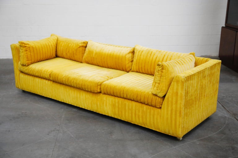 Edward Wormley Style Sectional Sofa with Striped Velvet, Dated 1972 For Sale 3