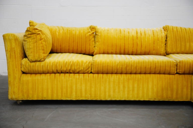 Edward Wormley Style Sectional Sofa with Striped Velvet, Dated 1972 For Sale 4
