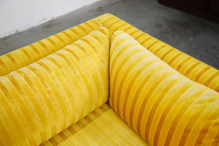 Edward Wormley Style Sectional Sofa with Striped Velvet, Dated 1972 For Sale 5