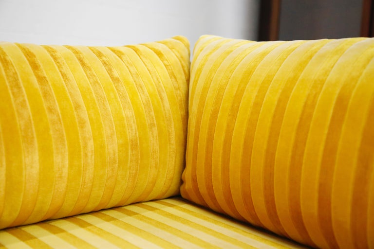 Edward Wormley Style Sectional Sofa with Striped Velvet, Dated 1972 For Sale 7