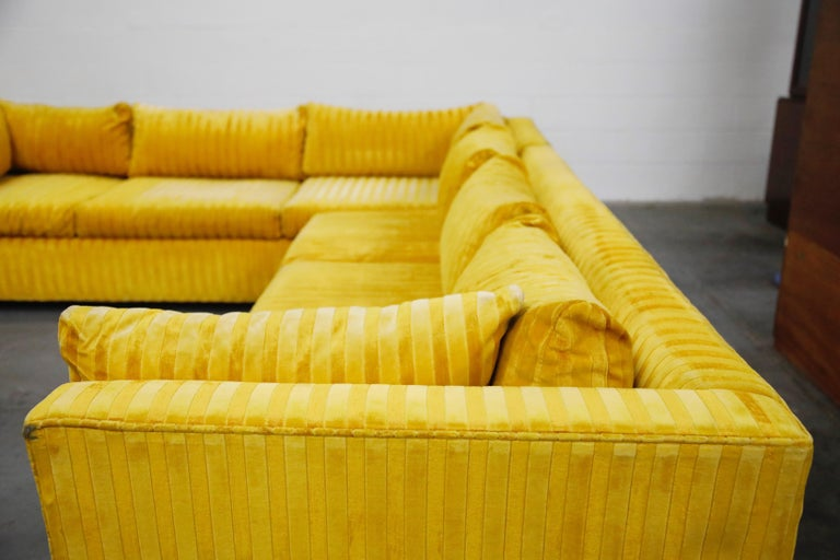 Edward Wormley Style Sectional Sofa with Striped Velvet, Dated 1972 For Sale 8