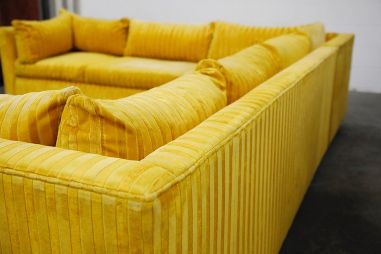 Edward Wormley Style Sectional Sofa with Striped Velvet, Dated 1972 For Sale 10