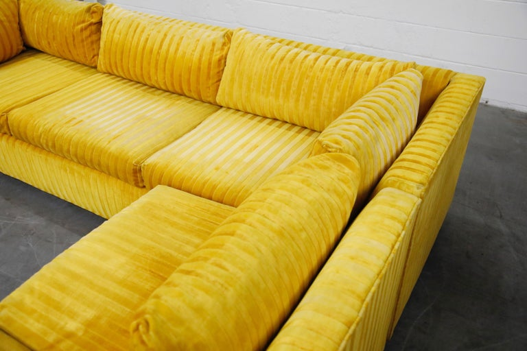 Edward Wormley Style Sectional Sofa with Striped Velvet, Dated 1972 For Sale 11