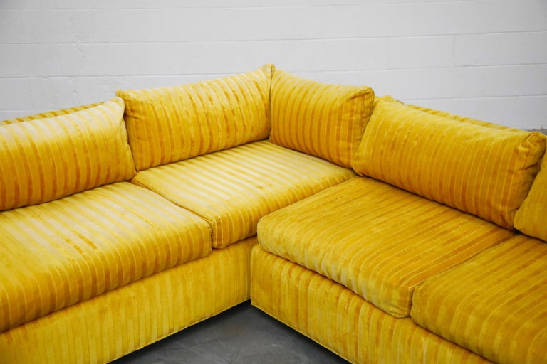 Edward Wormley Style Sectional Sofa with Striped Velvet, Dated 1972 For Sale 12