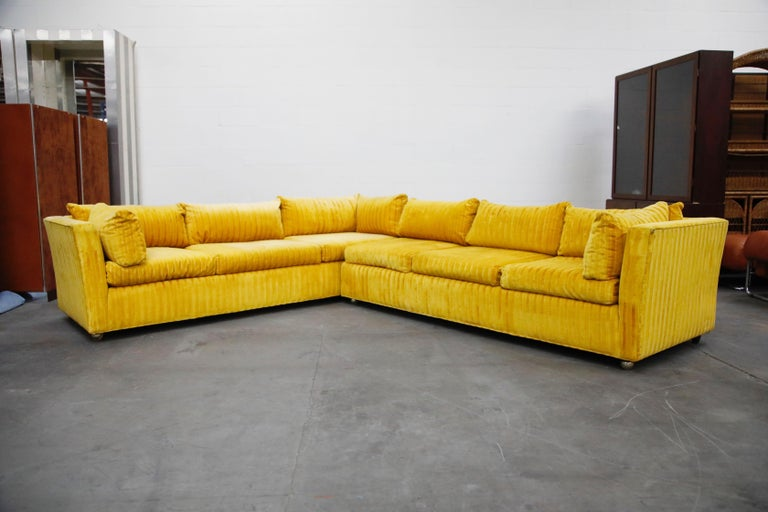 Mid-Century Modern Edward Wormley Style Sectional Sofa with Striped Velvet, Dated 1972 For Sale