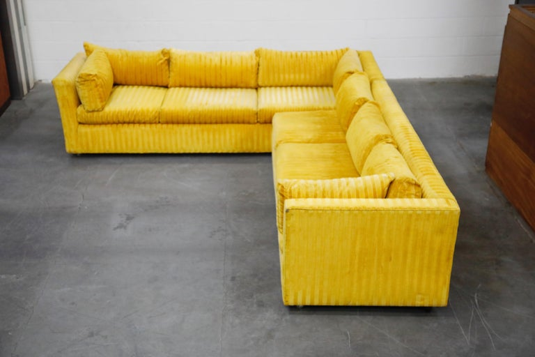 American Edward Wormley Style Sectional Sofa with Striped Velvet, Dated 1972 For Sale