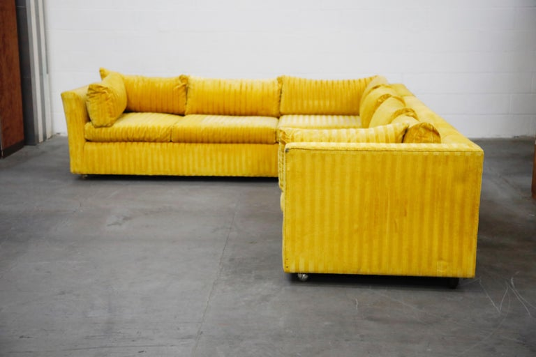Edward Wormley Style Sectional Sofa with Striped Velvet, Dated 1972 In Excellent Condition For Sale In Los Angeles, CA