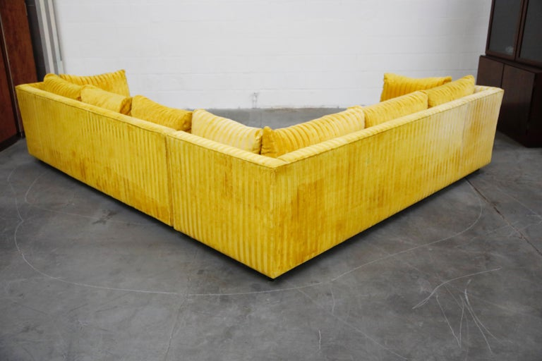 Late 20th Century Edward Wormley Style Sectional Sofa with Striped Velvet, Dated 1972 For Sale