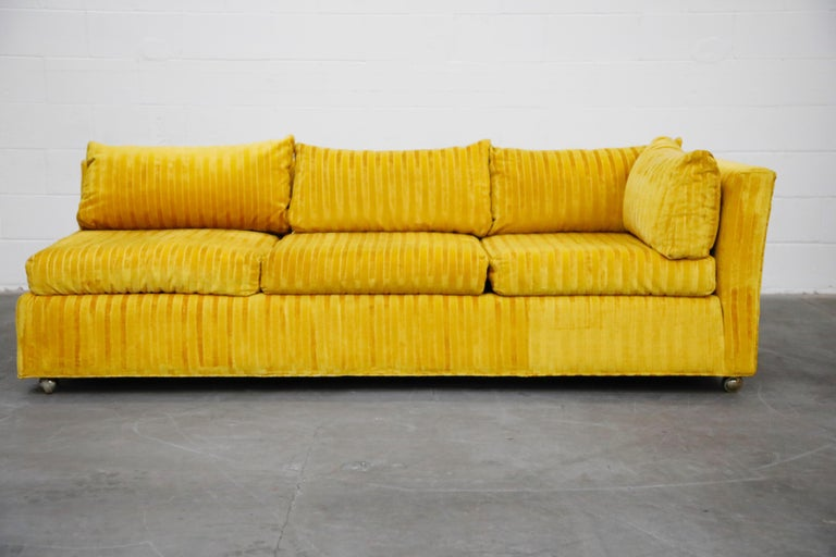 Fabric Edward Wormley Style Sectional Sofa with Striped Velvet, Dated 1972 For Sale