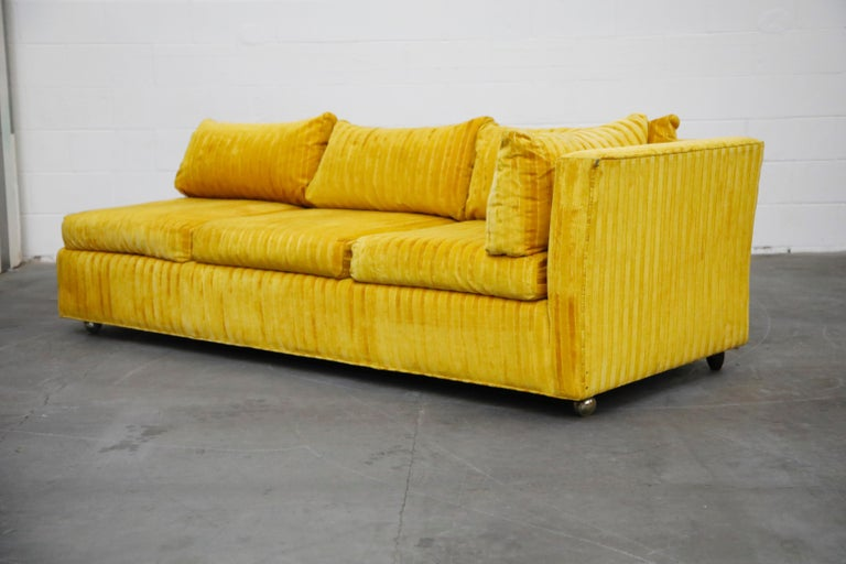 Edward Wormley Style Sectional Sofa with Striped Velvet, Dated 1972 For Sale 1